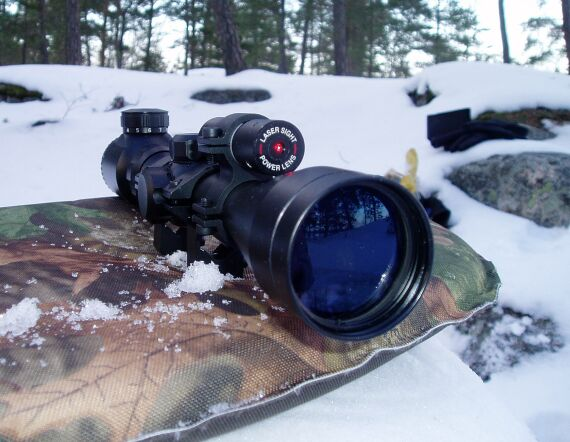 Cool 3-9x40 Rifle scope with laser on top